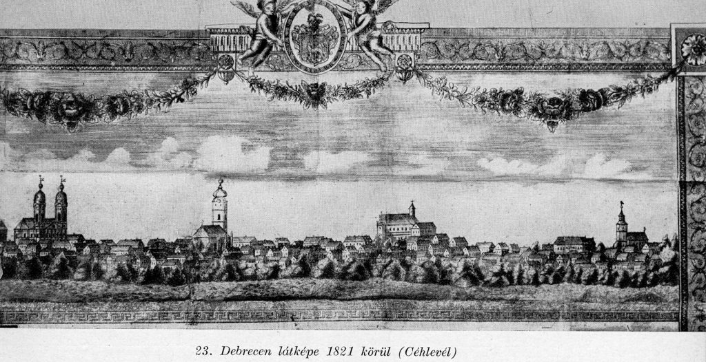Debrecen látképe 1821 küröl egy Céhlevélen
